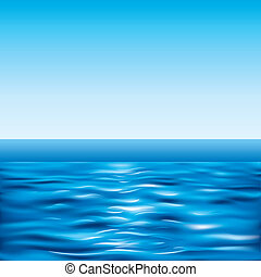 Tranquil Seascape And Clear Sky, editable vector illustration