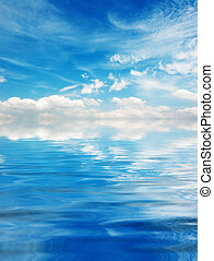 Blue sky with clouds over Lake