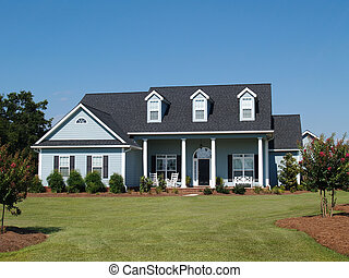 Blue Two Story Residential Home
