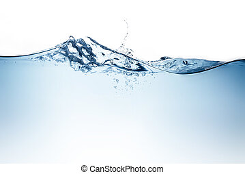 Blue water wave and bubbles to clean drinking water