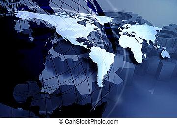 blue world map design; business background