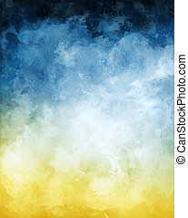 Blue Yellow Watercolor Abstract Background