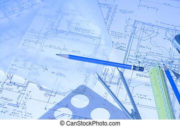 house floor plans, architectural desk