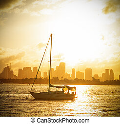 Boats in Miami Beach bayfront on a beautiful sunset