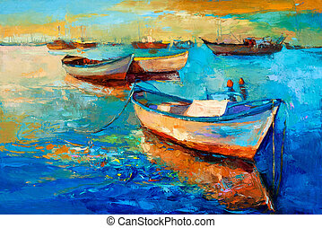 Boats on sunset