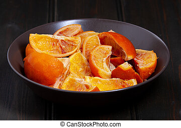 Boiled and Halved Blood Oranges