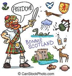 Bonnie Scotland cartoon clipart collection