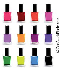 Bottles of nail polish in various shades. Vector illustration set