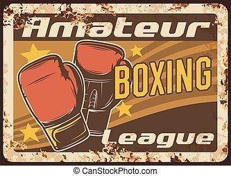 Boxing metal plate rusty, sport fight club league