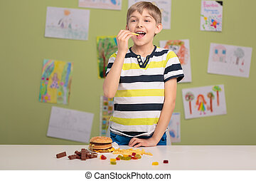 Boy addicted to fastfood
