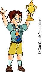 Boy Climbing a Mountain, illustration