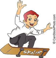 Boy on a Skateboard, illustration