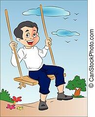 Boy on a Swing, illustration