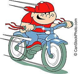 Boy on bike clip art in retro style.