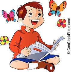 Boy Reading a Book, illustration