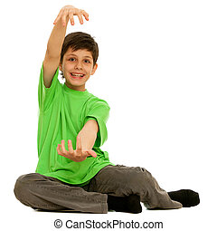 Boy showing the size of present he wants to get