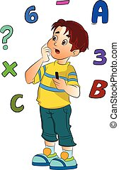 Boy Solving a Math Problem, illustration