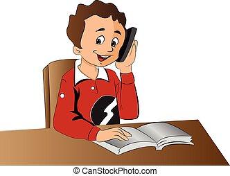 Boy Using a Cellphone, illustration