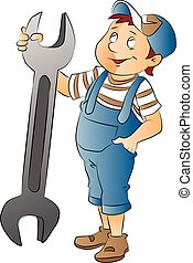 Boy with a Large Wrench, illustration