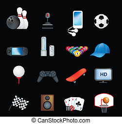 set of detailed icons and illustrations of hobbies