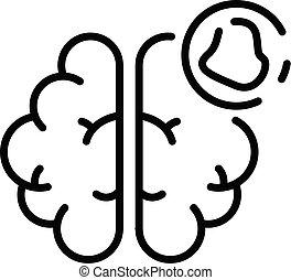 Brain amnesia icon, outline style