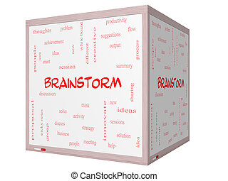 Brainstorm Word Cloud Concept on a 3D cube Whiteboard