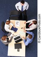 brainstorming - five business people meeting