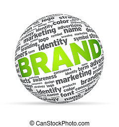 3d Sphere with the word brand on white background.