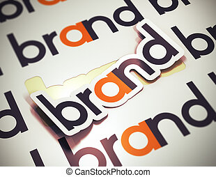 Sticker with the word brand over a beige background. Brand name concept. The image is a 3D rendering with blur effect