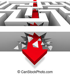 A red arrow crashes through the walls of a maze to freedom