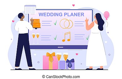 Bride and groom are planning wedding ceremony together
