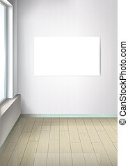 Bright empty room with a window. Room in perspective. White picture without a frame on the wall. Interior design and furniture elements. White blank frame for adding pictures. Vector.