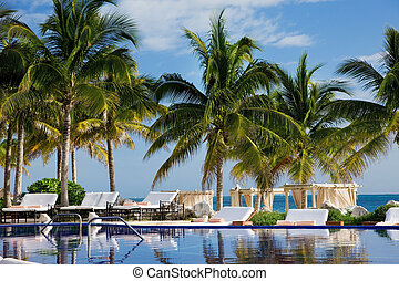 bright picture of beautiful caribbean tropical resort