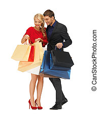 bright picture of man and woman with shopping bags