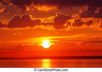 Bright red sunset