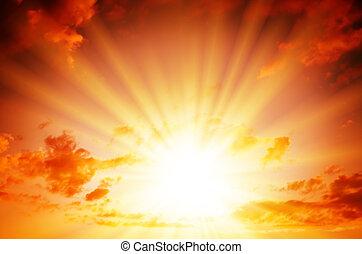 Bright sun in the red sky