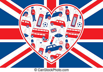 British flag background - Heart shaped seamless vector patten with London symbols. Grouped and on 2 separate layers for easy manipulation.