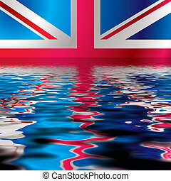 British flag reflected in water with an ocean ripple