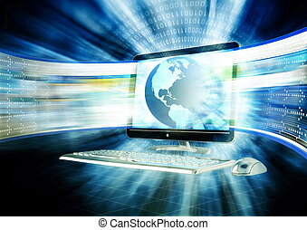 Concept of fast internet browsing with an lcd screen flahing a series of website rapidly.