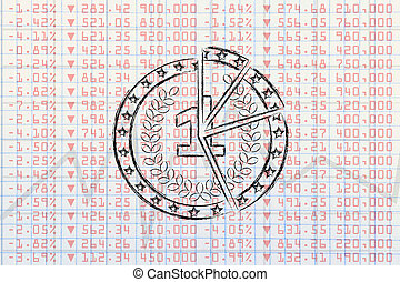 broken coin on top of negative stock exchange performance data