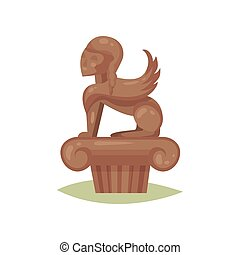 Bronze statue of mythology creature with lion body and human head. Museum item. Flat vector design