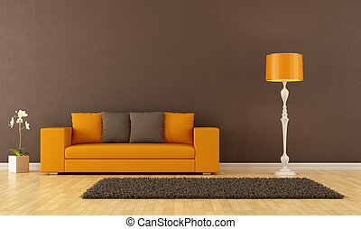 Brown living room with orange couch - rendering