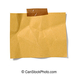 old brown grunge paper on white background with clipping path