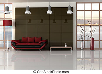 brown red and black living room