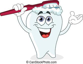 Cartoon tooth brushing itself