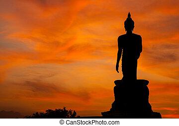 Buddha at sunset.