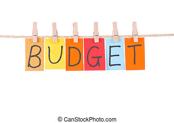 Budget, Colorful words hang on rope by wooden peg