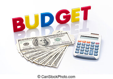 Budget words, American banknotes and calculator on white background
