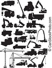 building machine silhouette