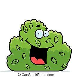 A cartoon green bush smiling and happy.